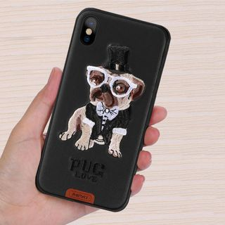 Telefontok iPhone 7 Plus / iPhone 8 Plus  - Remax RM-1647 fekete kutyás hátlap tok Pug love